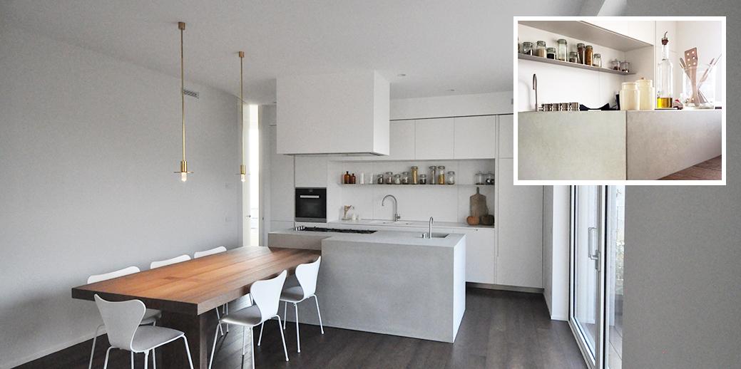 Betonküche als Monolit / Monoblock aus einem Stück gegossen