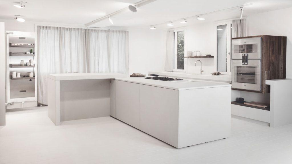 dade design Kochstudio Zürich Beton Küche Betonarbeitsplatte Weisszement