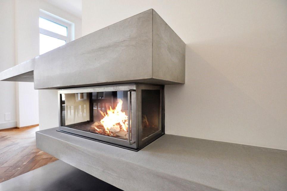 dade design – Beton Kamine und Betonöfen, Kaminverkleidung aus Echtbeton. photocredits: Superdraft