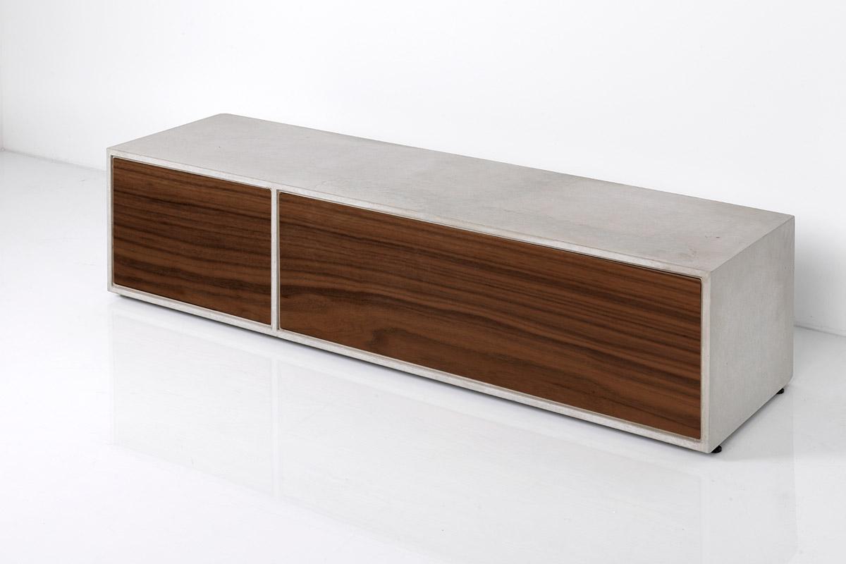 Beton Lowboard   Nuss Holzfronten   dade design