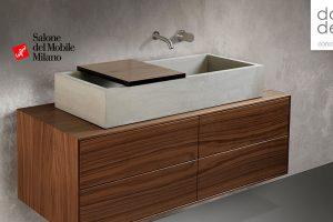 Holz und Beton für den Salon – dade mit einer neuen Waschtischmöbel Kollektion