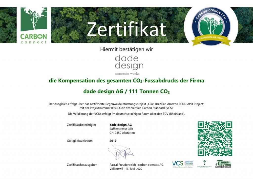 dade design AG klimaneutral Zertifikat 2019