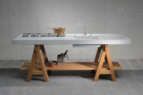 Beton Holz Küche Werkküche Betonarbeitsplatte |dade design