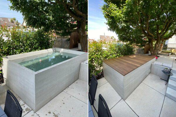 beton brunnen badebrunnen mit Beleuchtung mit Abdeckung |dade design